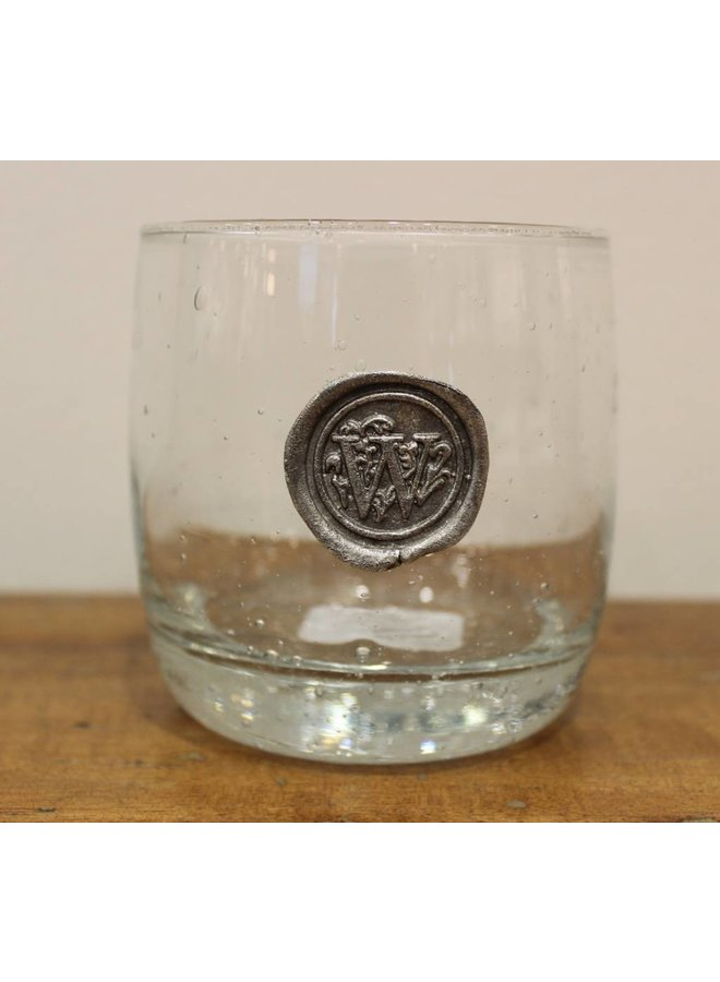 Double Old Fashion Glass-Initial W