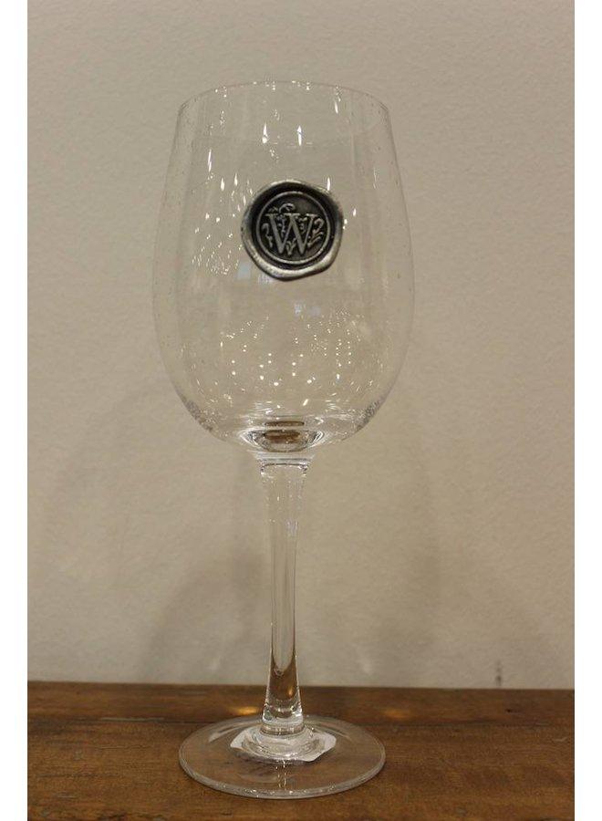 Stem Wine Glass-Initial W