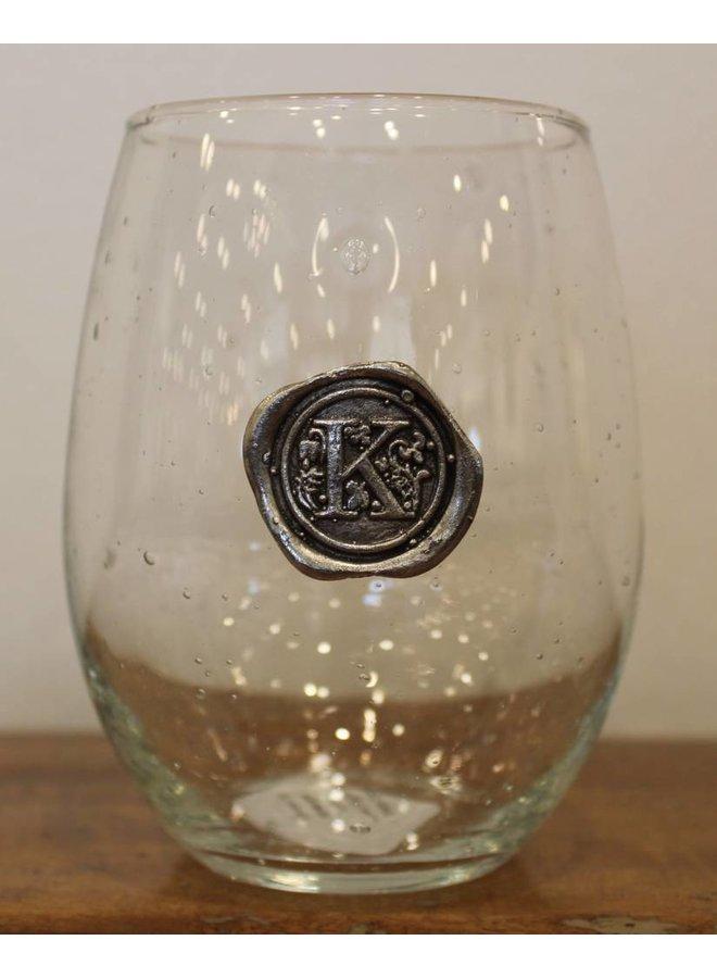 Stemless Wine Glass-Initial K