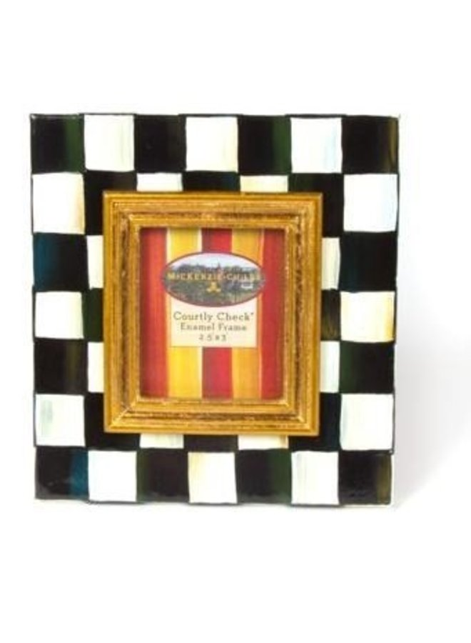 Courtly Check Enamel Frame - 2.5x3""