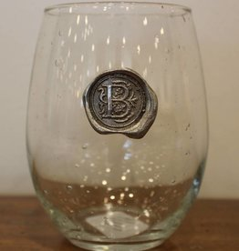 Southern Jubilee Stemless Wine Glass-Initial B