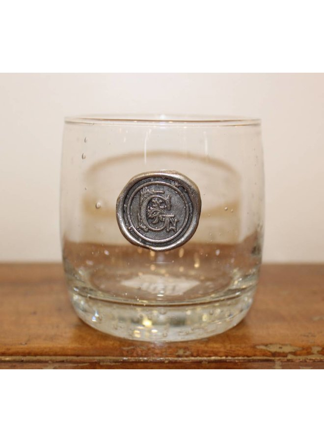 Double Old Fashion Glass- Initial G