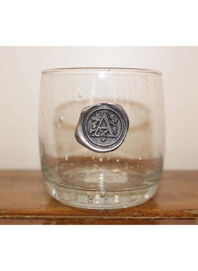 Double Old Fashion Glass- Initial A