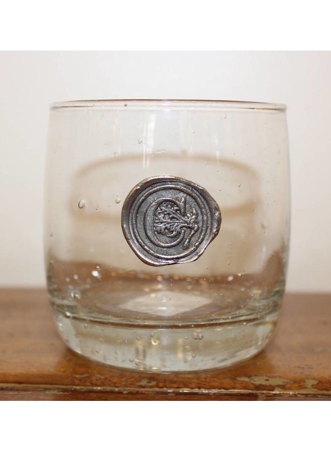 Double Old Fashioned Glass-Initial C