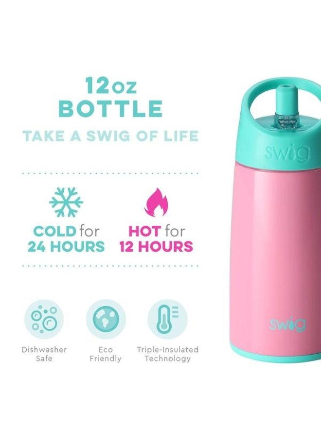 12 oz Flip & Sip Bottle - Peony
