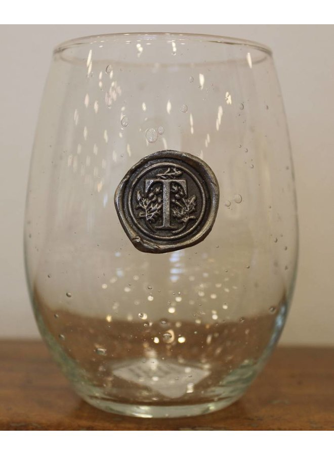Stemless Wine Glass-Initial T