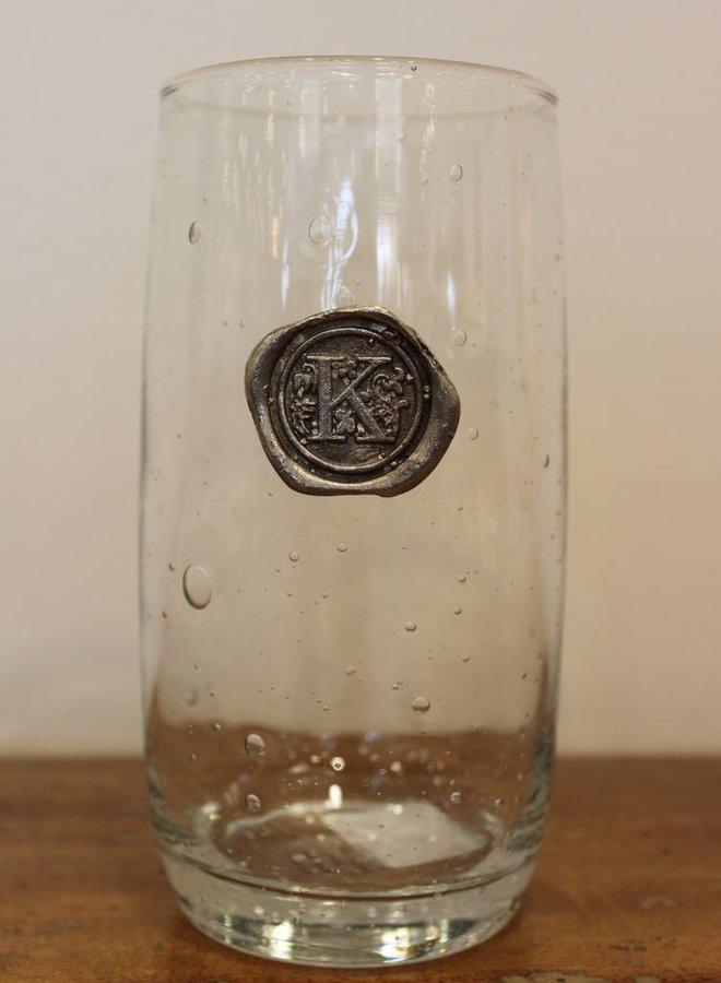 Ice Tea Glass- Initial K