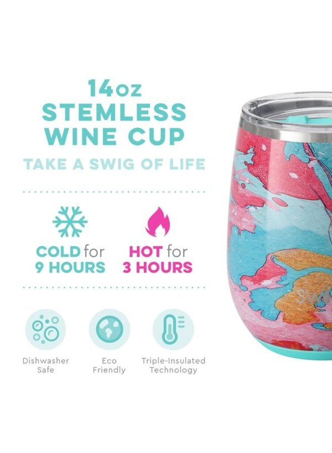 14 oz Stemless Wine Cup - Cotton Candy