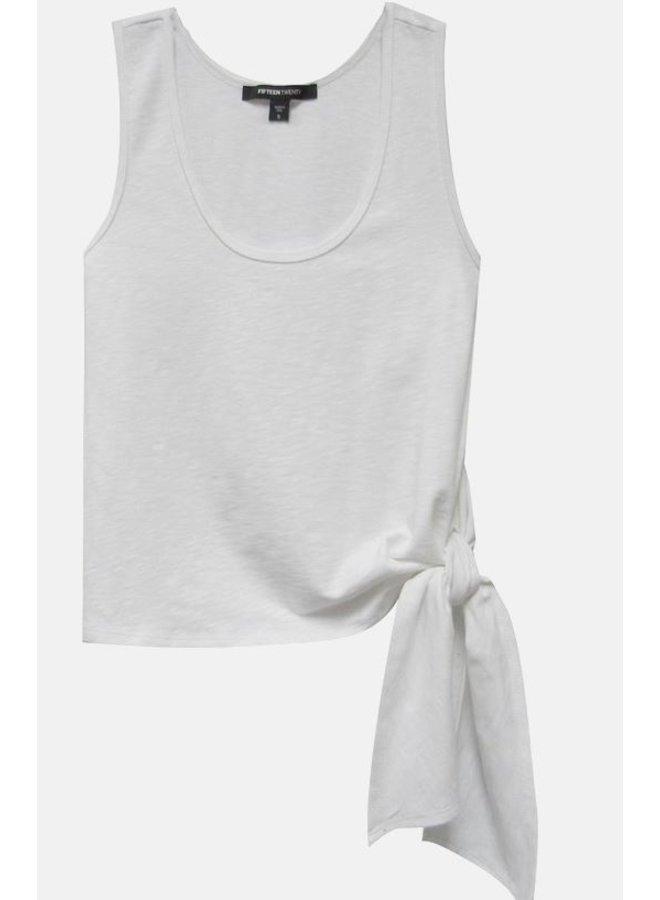 Side Tie Tank-White