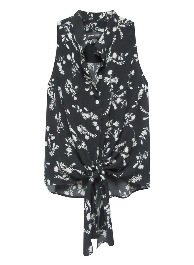 Tie Front Tunic-Floral Print