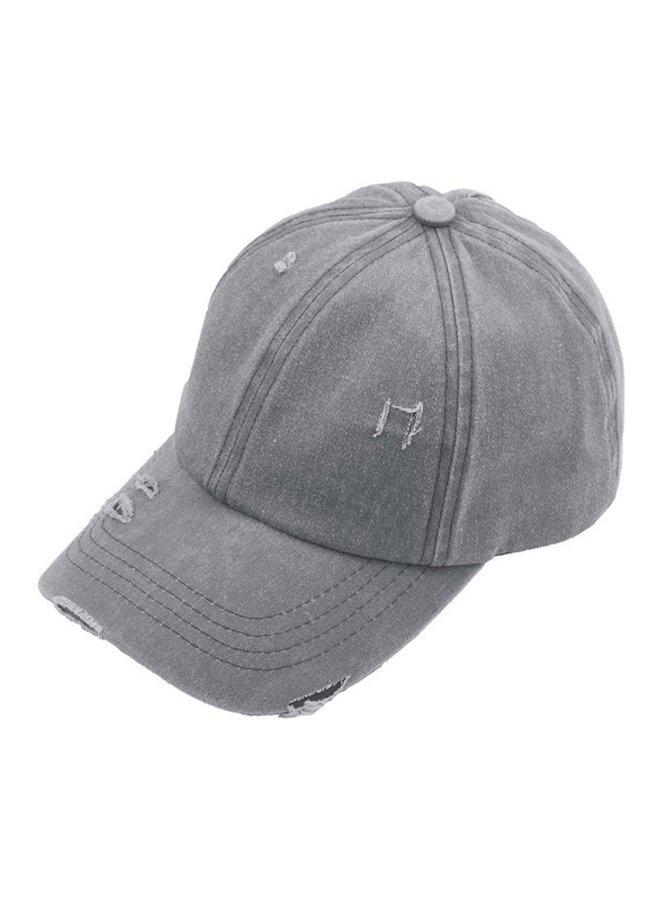 Distressed Denim Ladder Pony Hat