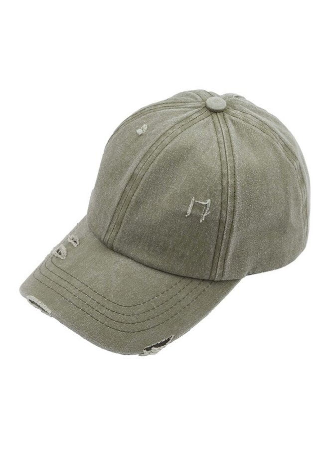 Distressed Denim Ladder Pony Hat
