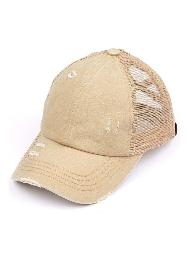 Washed Denim Criss Cross Pony Hat