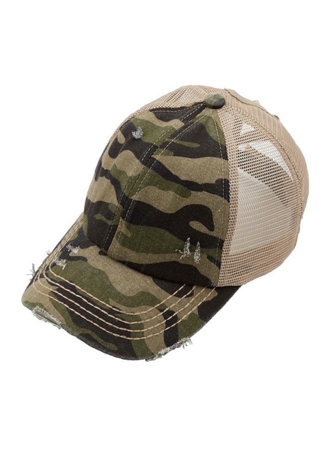 Denim Camo Crossed Elastic Pony Hat