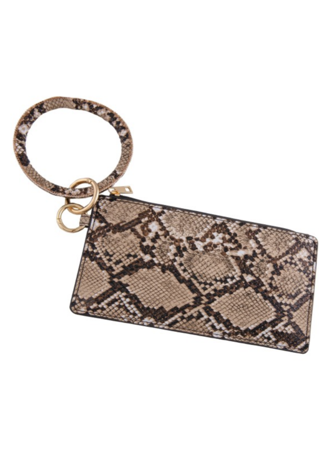 Faux Leather Snake Print Key Ring Wrislet Duo