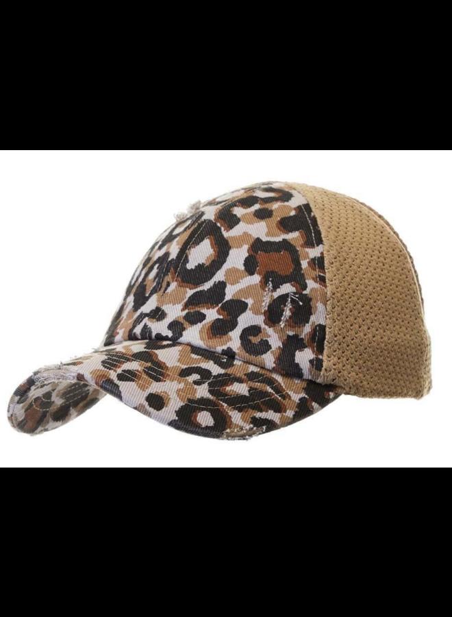Leopard Pony Distressed Hat