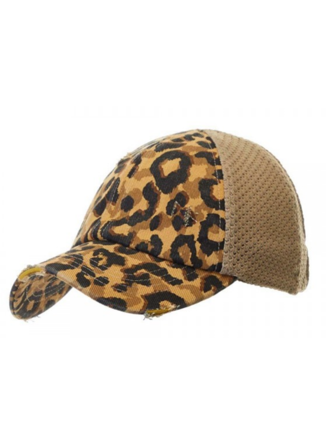 Leopard Pony Distressed Hat
