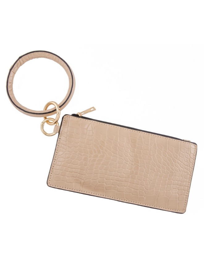 Faux Leather Croco Print Key Ring Wrislet Duo