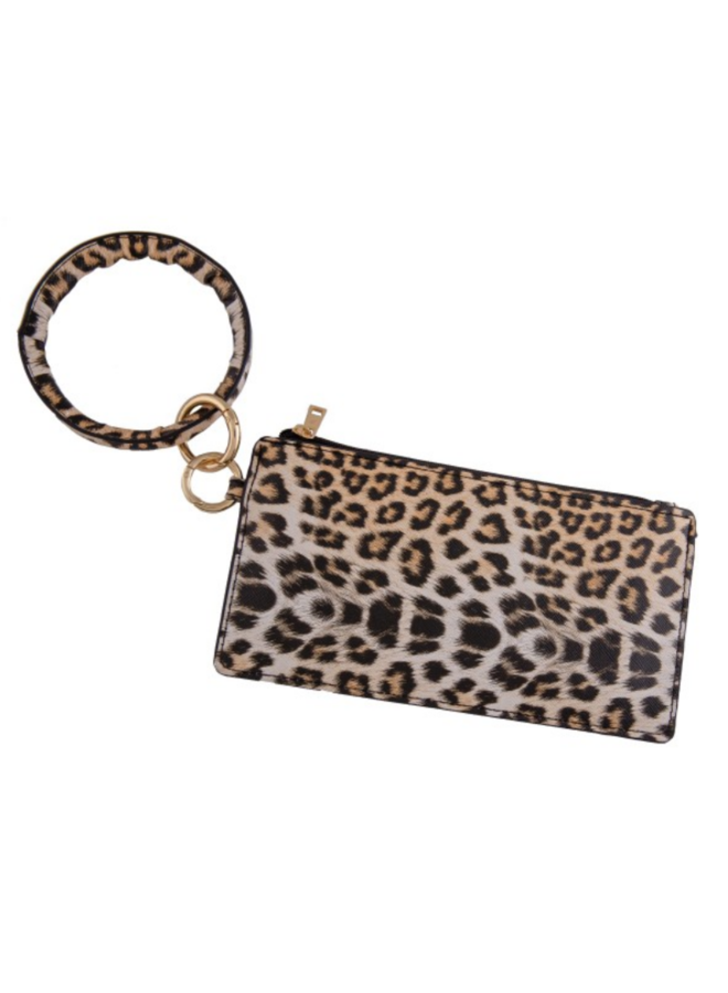 Faux Leather Leopard Print Key Ring Wrislet Duo