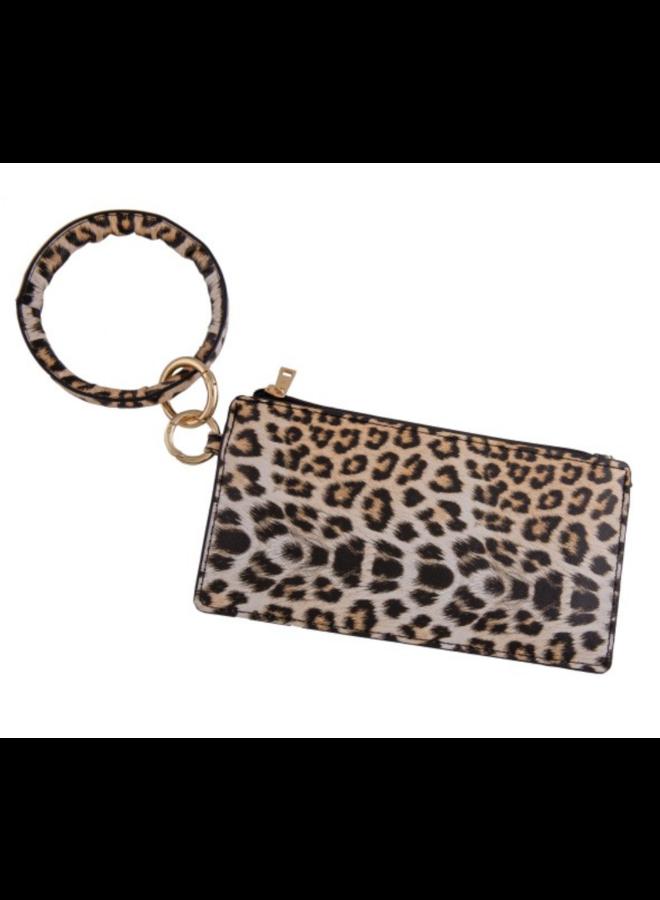 Faux Leather Leopard Print Key Ring Wrislet Duo