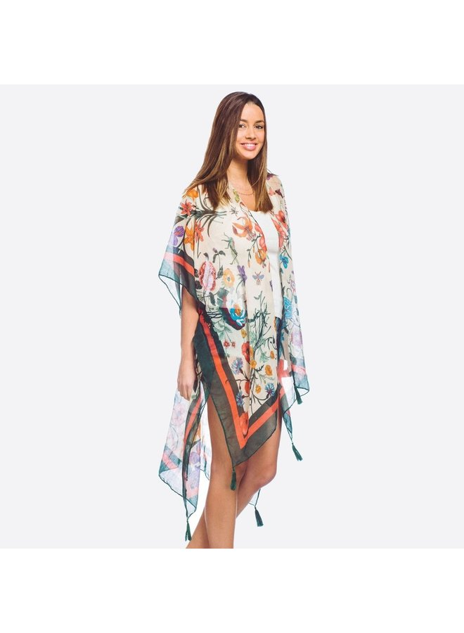Green Floral Kimono with Tassels