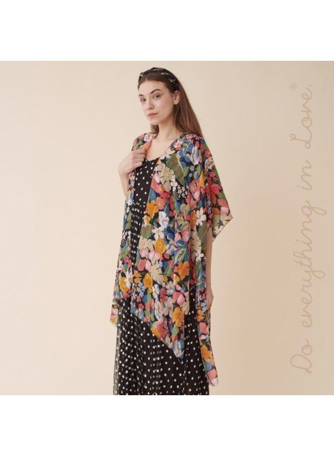 Black and Peach Floral Kimono