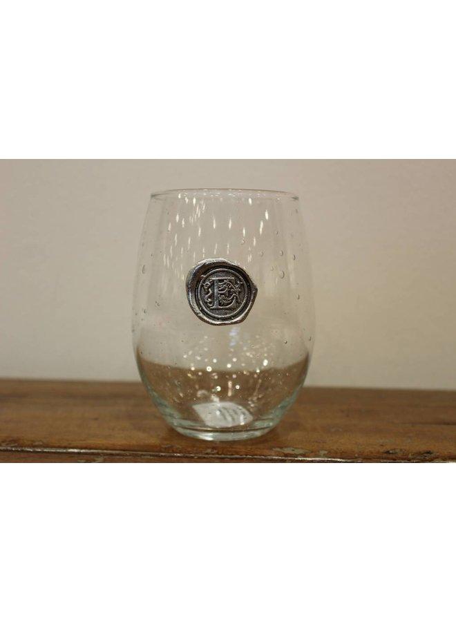 Stemless Wine Glass -Initial E
