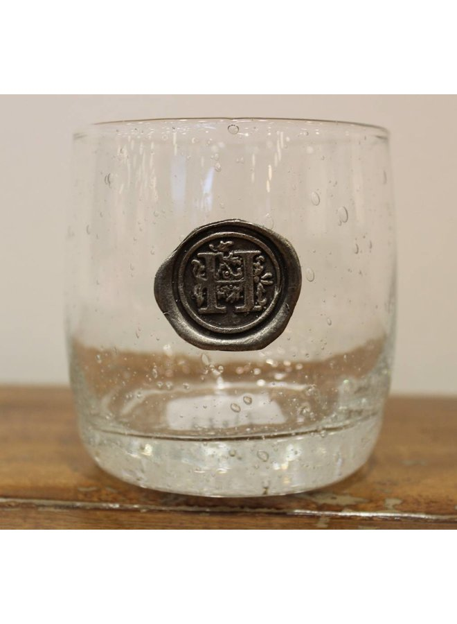 Double Old Fashion Glass-Initial H