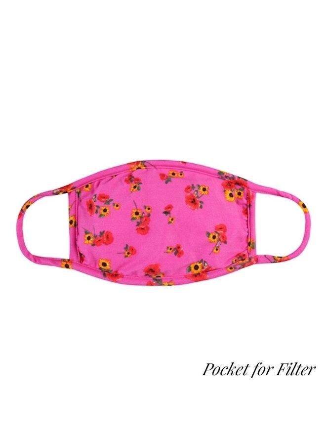 Hot Pink Sunflower Face Mask