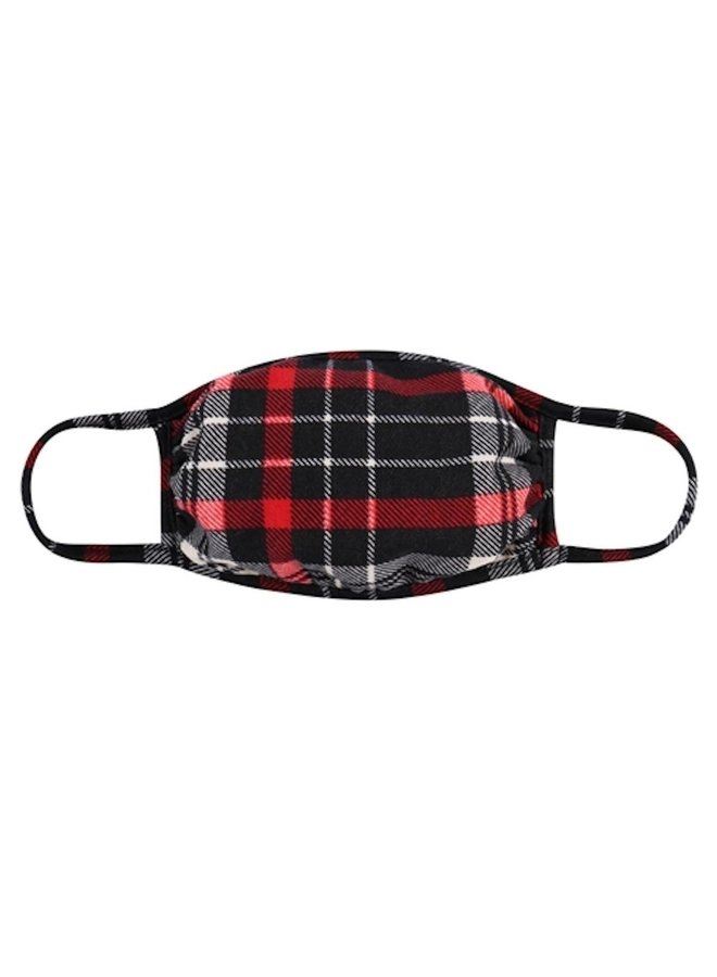 Black and Red Plaid Face Mask