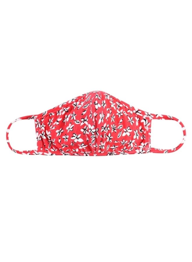 Adult Red and White Floral Mask