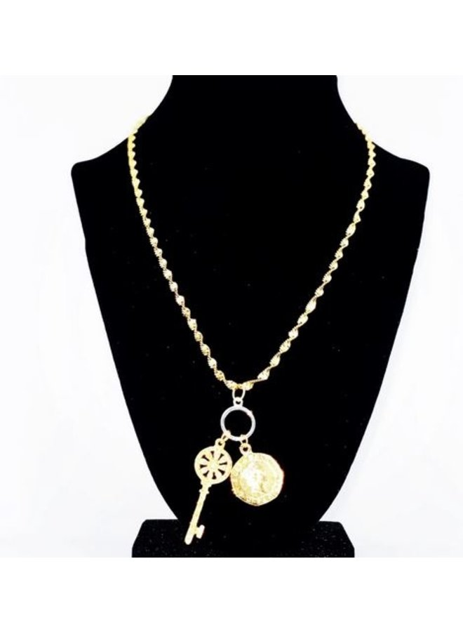 Key & Coin Necklace