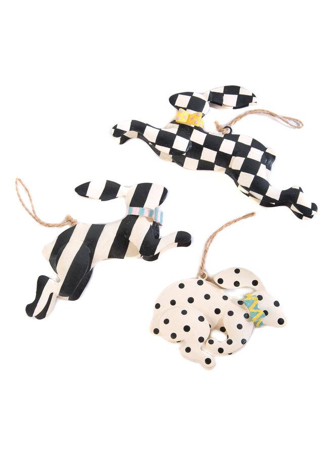 Rabbit Crossing Ornaments- Set of 3