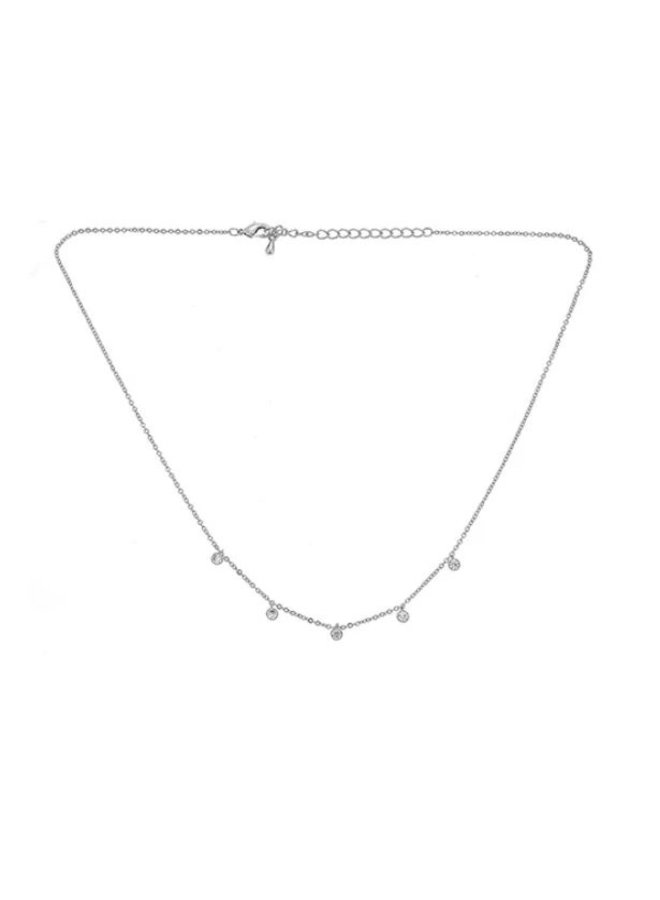 Carolina 5 Drop Bezel Necklace -