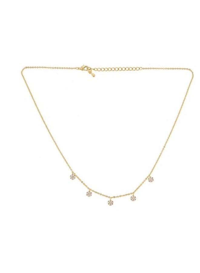 Colett 5 Drop Pave Necklace -