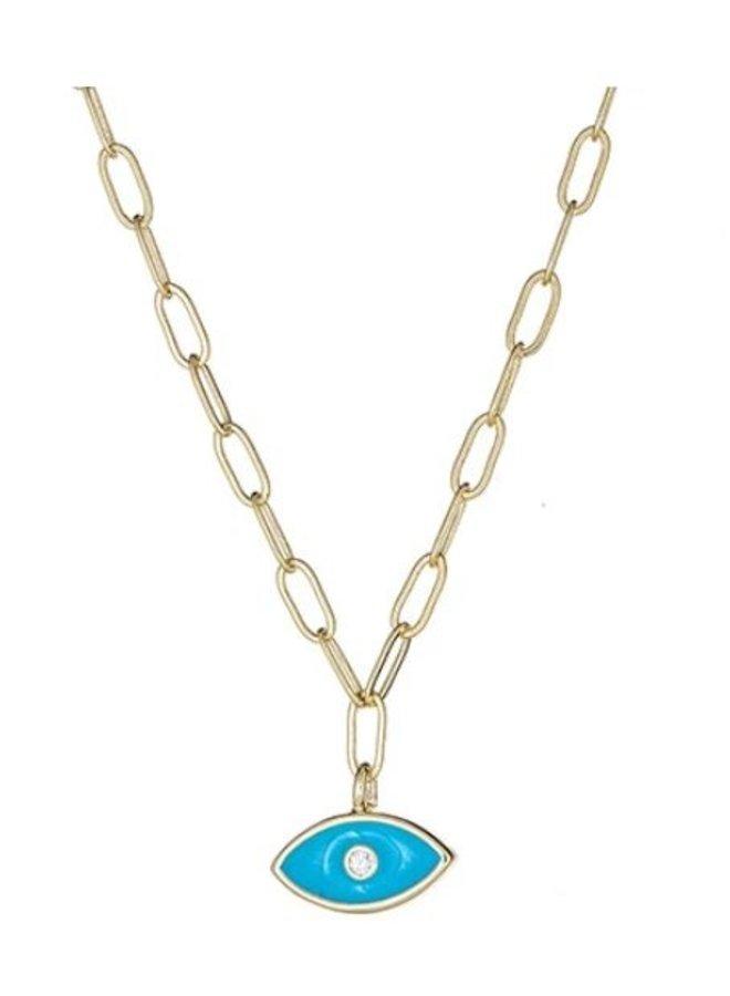 Brass Enamel Evil Eye Necklace -
