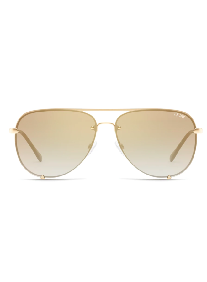 High Key Rimless Sunglasses-Gold/Brown