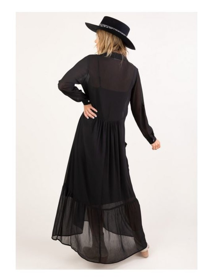Oversize Maxi Shirt Dress-Black