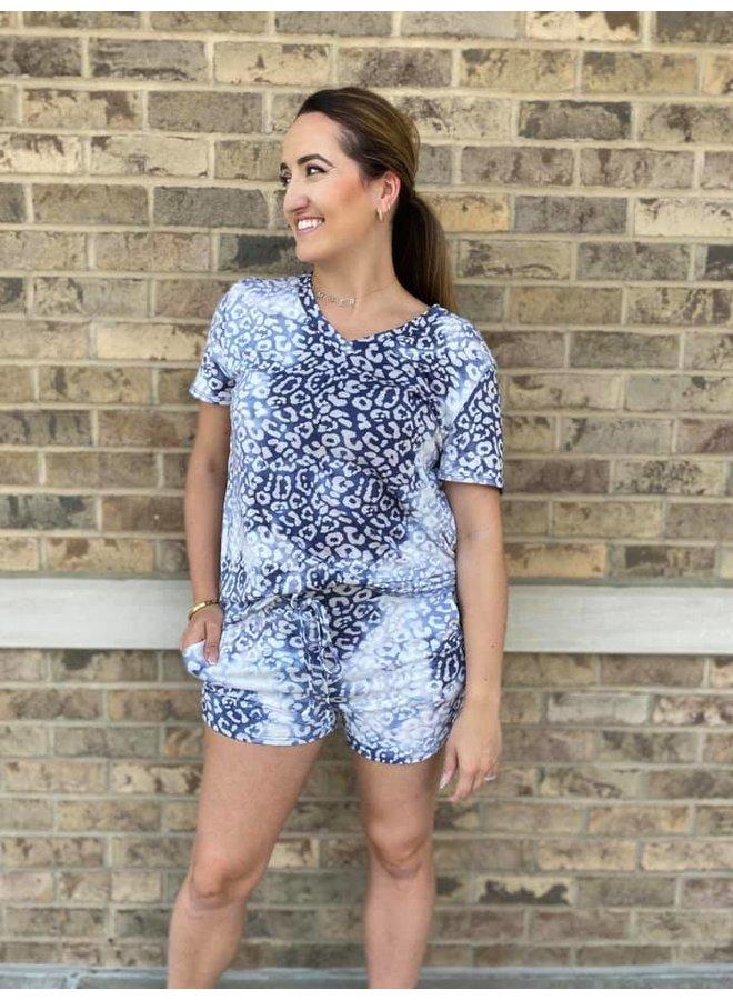 Leopard Short Set in Denim -