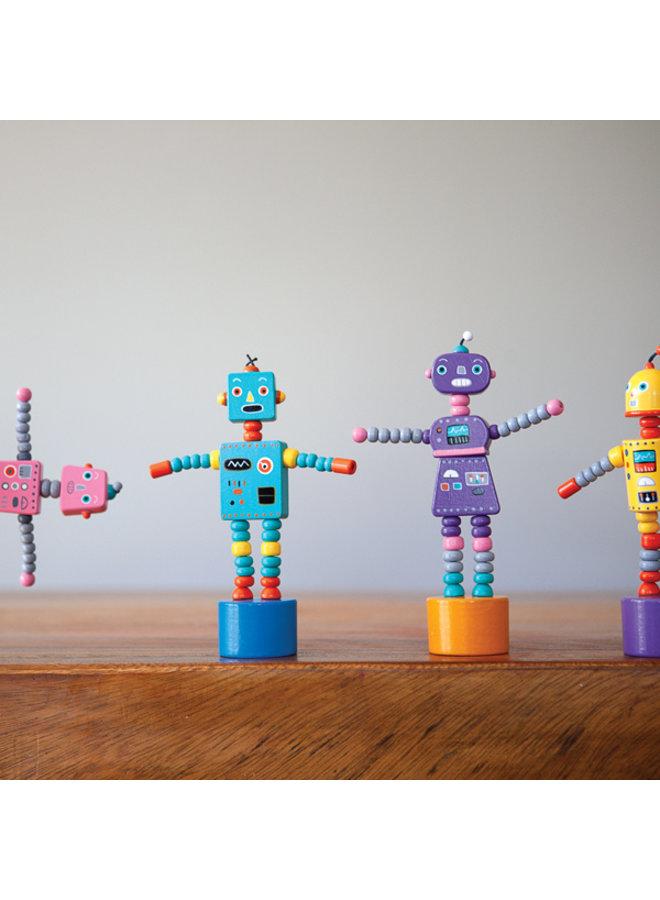 Retro Robot Push Puppet