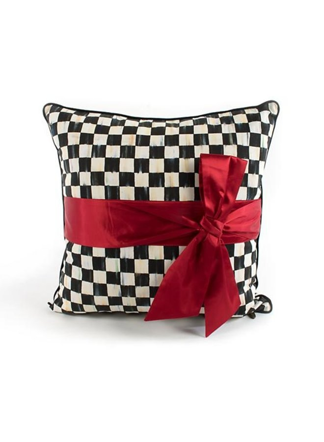 Courtly Check Sash Pillow-Red