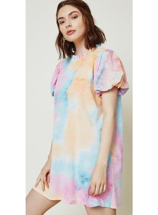 Tie Dye Puff Sleeve Dress