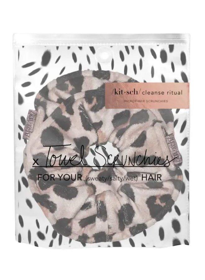 Leopard Microfiber Towel Scrunchies