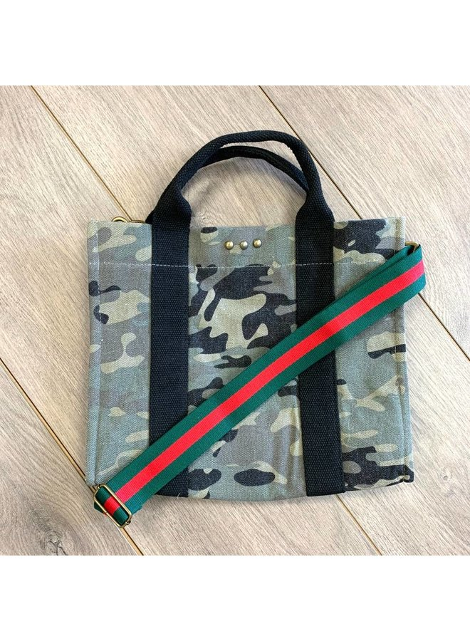 Camo Canvas Tote With Red Strap