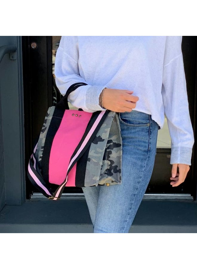 Camo Canvas Colorblock Tote With Pink Strap
