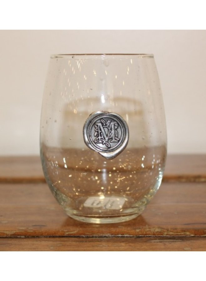 Stemless Wine Glass-Initial M
