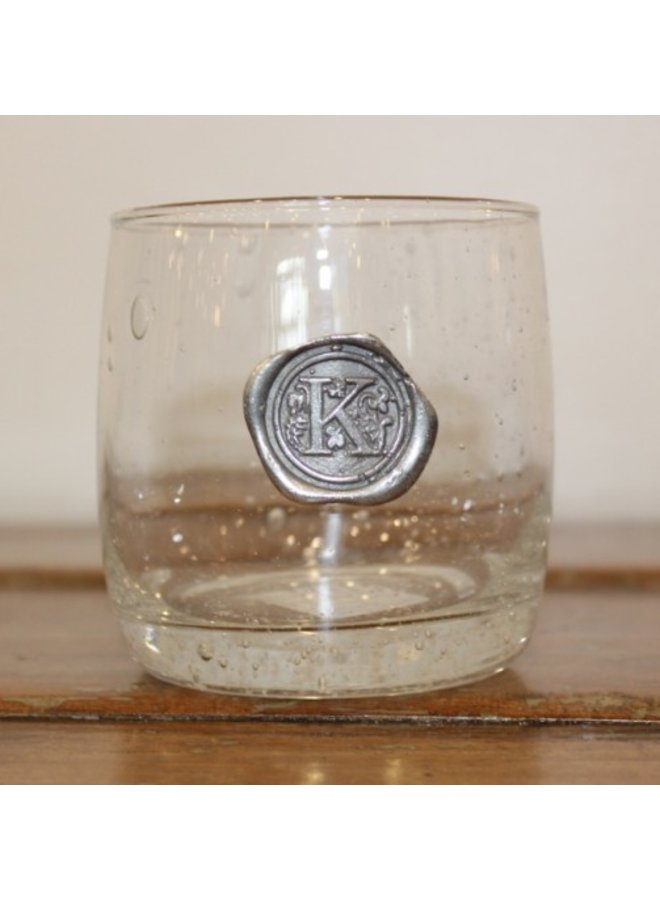 Double Old Fashion Glass-Initial K