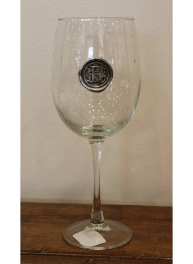 Stem Wine Glass-Inital R