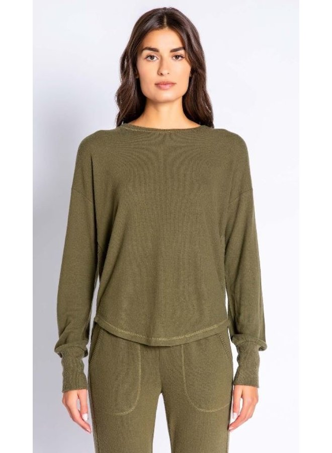 Olive Lounge Long Sleeve Top