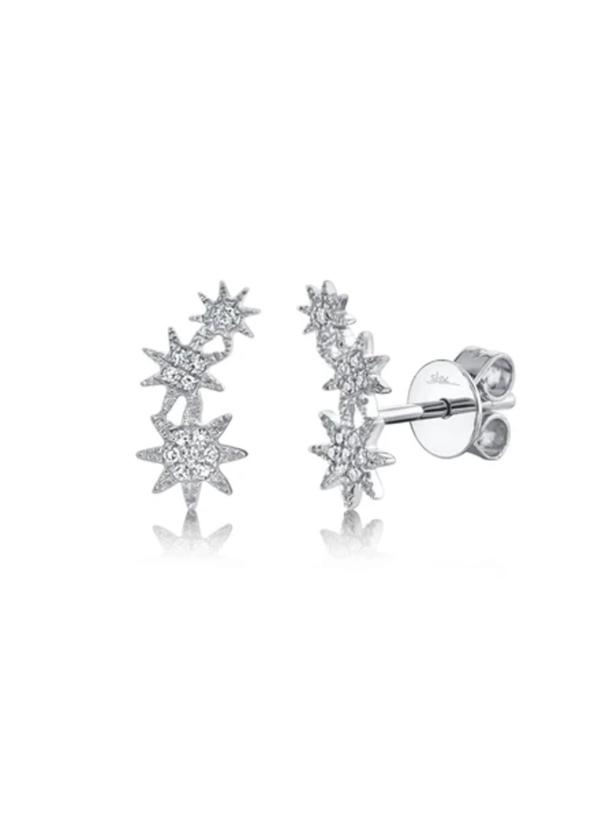 14K White Gold and Diamond Shooting Star Stud Earrings (.06 Ct)